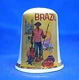 Birchcroft - Dedal de porcelana coleccionable de China – Póster de viaje de Brasil – caja gratis