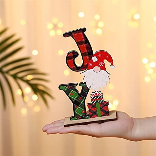 QKFON Decoraciones de mesa de madera de Navidad, adornos de madera especiales artesanías de madera, letras de colores para el hogar mesa de fiesta de Navidad