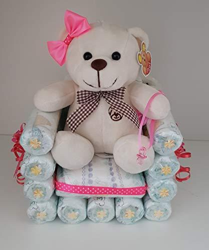 Windeltorte rosa, Sessel aus Windel Gr.3, Geschenk zum Geburt, Taufe, Babyparty Mädchen, Kuscheltier - Bär