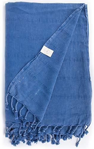 Bersuse Toalla turca Troy XXL - 100% algodón, Color Azul