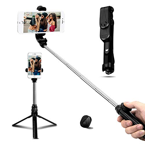 Zommuei Palo Selfie Trípode, Bluetooth Selfie Stick Movil con Control Remoto 360° Rotación Extensible Mini Tripode para iPhone X / 8/8 Plus / 7 / 6s / 6/5, Galaxy S10 / S9 / 8/7 / 6 / Note. Huawei