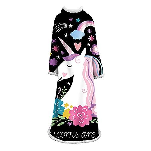 Hiso Plaid 2021 - Manta supersuave para adulto con manga cálida, sudadera de cuadros cómoda, con capucha, manta de baldosas, poncho Sweat-Shirt (B-178 x 127 cm)