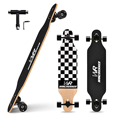 Windrunner 41 inch Freeride Longboard Skateboard,8-Ply Natural Maple Drop Through Freestyle Complete...