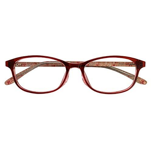 遠近両用メガネ TRフローレット AL-1133 (マゼンタ) (レディースセット) 全額返金保証 境目のない 遠近両用 老眼鏡 (瞳孔間距離:63mm〜65mm, 近くを見る度数:+3.0)