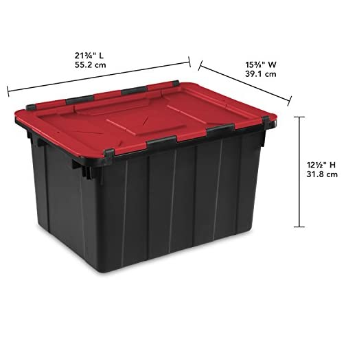 Sterilite 14649006 15 Gallon/57 Liter Industrial Tote, Black Lid & Base w/ Racer Red Latches, 6-Pack 5