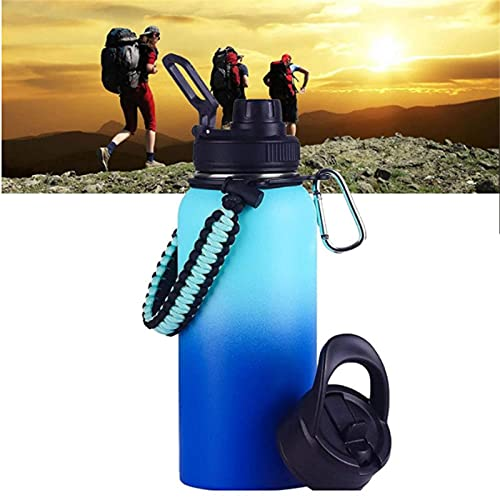 ZDDO Botella de Agua Deportiva de Acero Inoxidable, Termo Al VacíO De Doble Pared con Tapa De Paja Y Pico,Sweat-Proof Leakproof Travel Mug Jug A