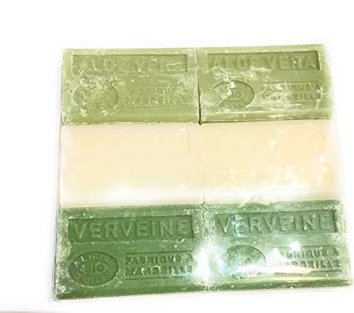 Label Provence-lot de 6 savons bio -à l'huile d'olive- fabriqué à Marseille-6x125g-2xaloe vera-2xlait d'anesse-2xverveine.