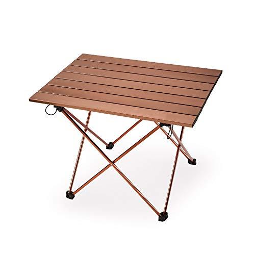 Outdoor Portable Seite Camping Picknick Kaffee Klapptisch mit Aluminium Tischplatte für Essen & Camping Kochen Ausrüstung Einfach Zu Reinigen,Brown