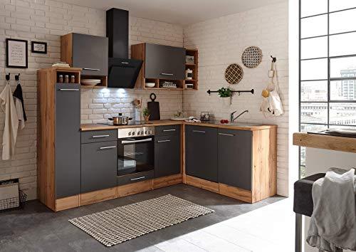 respekta Winkelküche Küchenzeile Küche L-Form Küche Wildeiche Weiß 250x172 cm