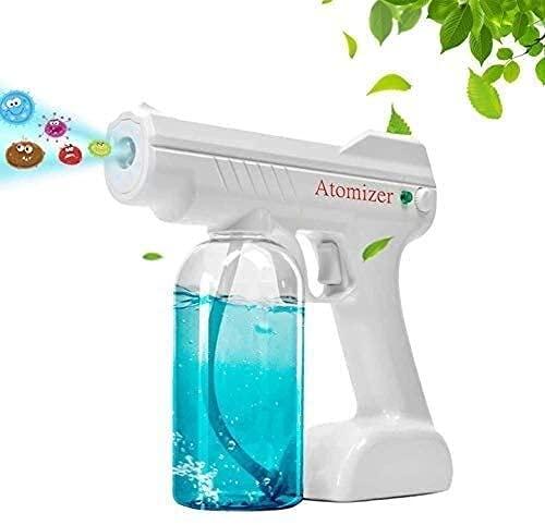 Pistola de pulverización nano portátil, nano atomizador recargable, rociador electrostático de mano, pistola rociadora desinfectante Nano atomizador de gran capacidad de 27 onzas (color: blanc