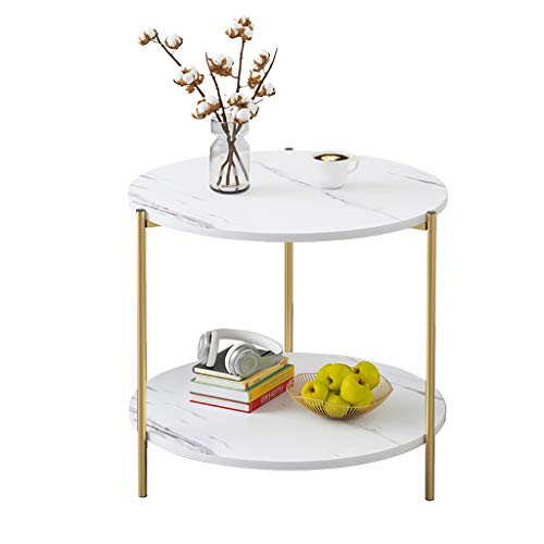 ZWJLIZI Coffee table, sofa side table, light living room marble double-layer small round table, small apartment bedside table (Color : A, Size : 40x40x42cm)