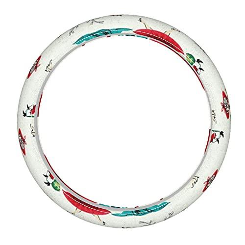 Funda de cuero para volante de Navidad con diseño de galas, color crema