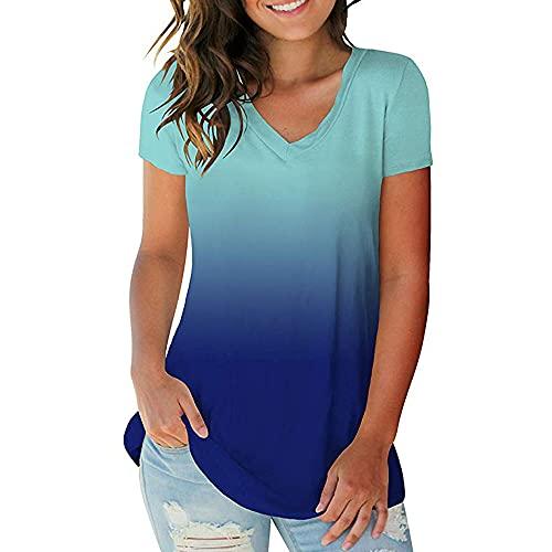 Camiseta de mujer con cuello en V y manga corta para mujer