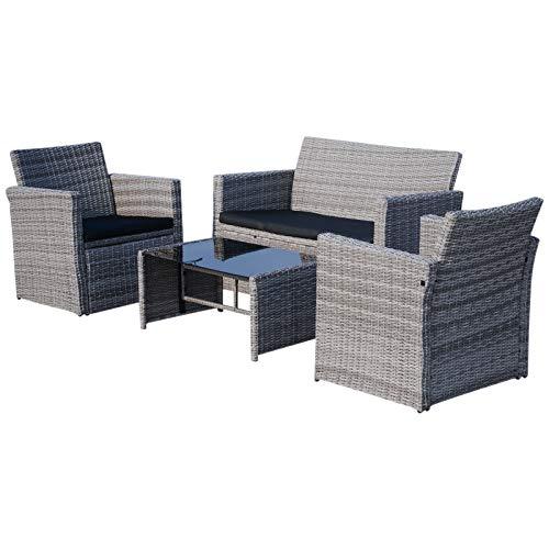 Outsunny set mobili da giardino in PE Rattan Grigio Divano con 2 Poltroncine e Tavolino