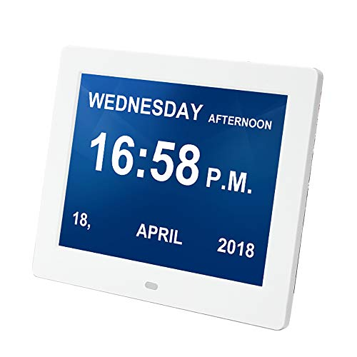 CNMF Digitale wekker, 8 inch, kalender, dag en uur (afkorting letters in 9 hoogwaardige talen, groot display, afstandsbediening), Alzheimer/dementie zwakke gelezen, horloge wit