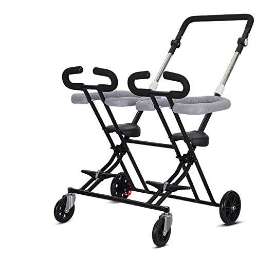 QINJIE Triciclo para niños del artefacto de Dos Hijos de 1 a 7 años de Edad del bebé Luminoso Plegable de la Carretilla Infantil,Negro
