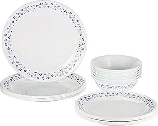 Corelle 2724574014345 Vitrelle Lilac Blush Dinnerware Set 18 Pieces, White/Blue