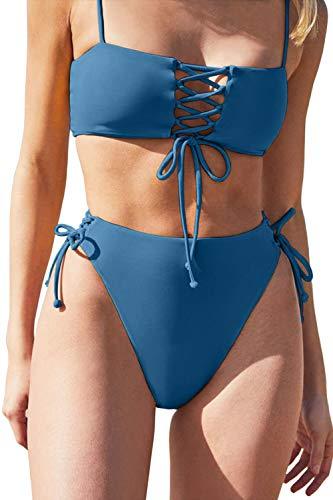 QINSEN Two Piece Swimsuit Women's Lace Up Front High Waist Tie Side Bikini Set Swimwear Cheeky Bottom S Blue