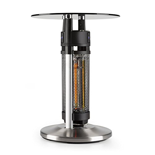 Blumfeldt Primal Heat 65 - Bistro Table, Carbon IR Heating Element, 1200W, LED, 65cm, Glass, 3 Infrared Sensors, Stand in The Warmth, Robust, Lighting and Heating Function, Black/Silver