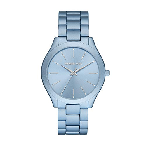 Michael Kors Women's Slim Runway Quartz Watch with Metal Strap, Blue, 20 (Model: MK4548)