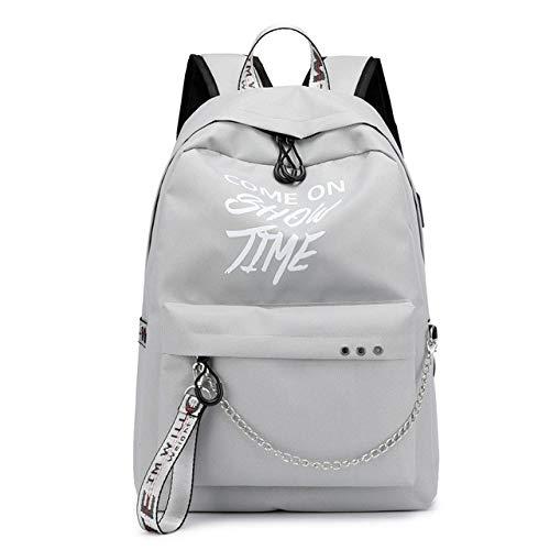 VICTOEFashion Damen Rucksack mit USB-Ladekabel, leuchtende Kette, Nylon, weiblich, für Teenager, einfarbig, Mädchen, grau (Grau) - VICTOE-5681