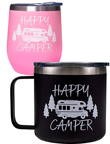 Camping Gifts for Camper, Happy Camper Cups, Camping Mug, New Camper Gifts, Camping Gifts, Camping Themed Gifts, Fun Camping Gifts, Gifts for Camper, Camper Travel Cups, Happy Camper Decor