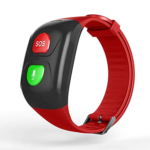 HJYBYJ IP67 Smart Watch GPS Tracker SOS Pulsera Impermeable Hombres Antiguos Niños Pulsera Big SoS SOS Botón Sin Monitor De Pantalla (Color : Red)