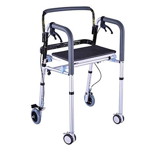 YX Andador plegable Bariátrico para trabajo pesado con 4 ruedas para personas mayores Adultos Marco para caminar Ayuda liviana de movilidad para discapacitados con asiento y freno de mano ✅