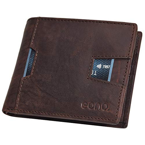 Eono by Amazon Leather Credit Card Wallet for Ment- RFID Protected Slim Wallets with Zipper Coin Pocket