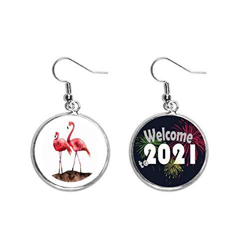 Flamingo pareja Amor Rojo Art Deco Regalo Moda Oído Colgantes Pendientes Joyería 2021 Bendición
