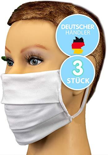 3 Behelfsmundschutz 2 LAGIG MIT FILTER-TASCHE - Stoffmaske Behelfsmaske Alltagsmaske für Mund und Nase aus EUROPA - Waschbar 60 Grad MIT NASENBÜGEL Mundbedeckung Mund und Nasen-Maske - 100% BAUMWOLLE
