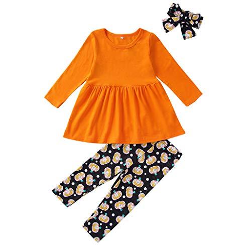 Xshuai RTE Tenue pour bébé avec Robe d'halloween + Pantalon + Bandeau imprimé Cartoon - Orange - Taille Unique