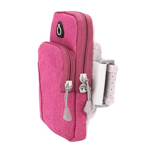 Uxsiya Bolso del Tenedor, Impermeable al Aire Libre del Bolso del Brazo del Bolso Respirable para los Adultos para Correr(Rosado)