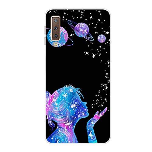 Everainy Coque Compatible pour Samsung Galaxy A7 2018 Silicone Housse Étui Transparente Souple Bumper Ultra Mince Fine Etui Caoutchouc Antichoc Case Motif Cover (Fille)