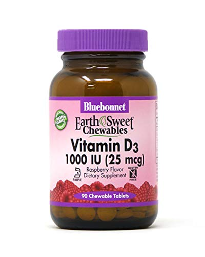 Bluebonnet Nutrition Earth Sweet Vitamin D3 1000 IU Chewable Tablets, Aids in Muscle and Skeletal Growth, D3, Non GMO, Gluten, Free, Soy Free, Milk Free, Kosher, 90 Chewable Tablets, Raspberry Flavora