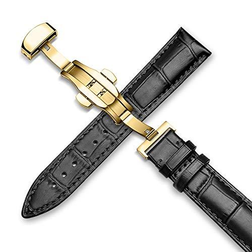 RSB Lederen riem 14-24mm universele horloge vlinder dubbele gesp donkere riem roestvrij staal gesp riem 22mm riem (Band kleur: Zwart goud, Band Breedte : 22mm)