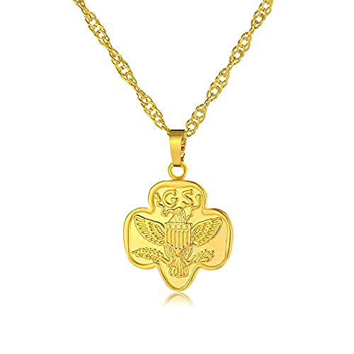NC190 Collar con Colgante de águila voladora de Tendencia Hip Hop para Hombres y Mujeres, Collar de Papel de Laurel de ala de Color Dorado, joyería de 50Cm