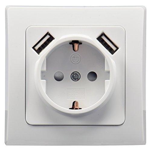 ChiliTec Steckdose Weiß mit USB Unterputz Schutzkontakt-Steckdose 250V / 16A USB-Port 5V / 2,1A Laden von Smartphone Tablet