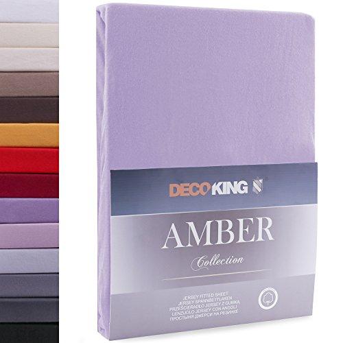 DecoKing Lenzuolo sotto con Angoli Elasticizzati 100% Jersey in Cotone, Amber Collection, 120x200-140x200 cm, Viola