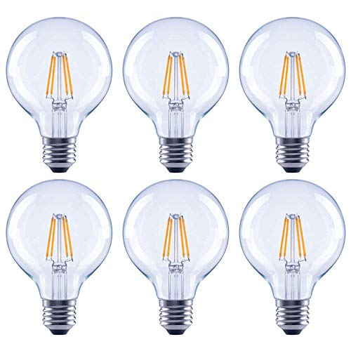 Asencia AN-03681 40 Watt Equivalent G25 Globe Clear All Glass Vintage Filament Dimmable LED Light Bulb, Soft White, 6-Pack, 25W