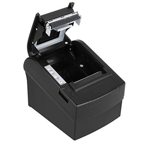 Floureon ZJ-8220 Impresora Térmica de Recibos y Billetes (80MM, 300mm/s, ESC / POS, Auto - Cut), Negro