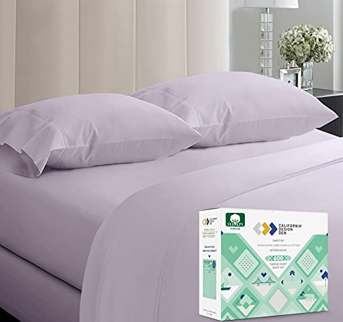 4 Piece Extra Deep Pocket Lavender Full Sheet Set, 100% Pure Cotton 600-Thread-Count Luxury Hotel Collection Bedding Set - Wrinkle Free, Comfy, Sateen Weave, Fits Mattress 16'' Deep Pocket
