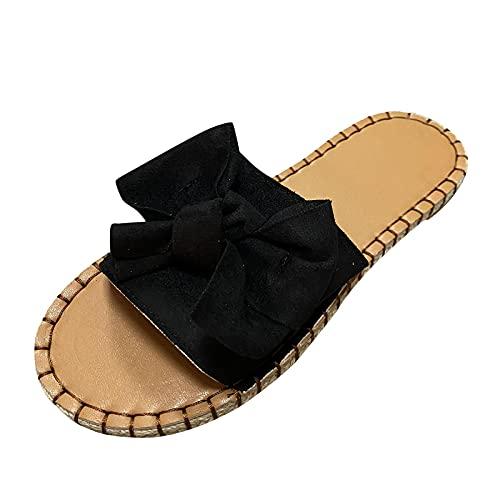 ZuzongYr Pantuflas para mujer con diseño de lazos, para interior y exterior, talla grande, estampado de cebra, suela suave, sandalias de playa, cómodas y antideslizantes, color Multicolor, talla 36 EU
