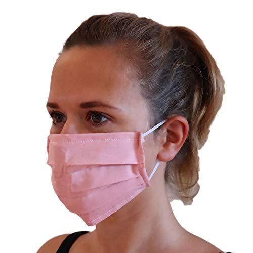 LIEVD® Mundschutz Maske 100% Baumwolle Made in Germany | OEKO-TEX 100 | Gesichtsmaske waschbar | Mund und Nasenschutz wiederverwendbar | Behelfsmaske 2-lagig (Größe M - Rosa)