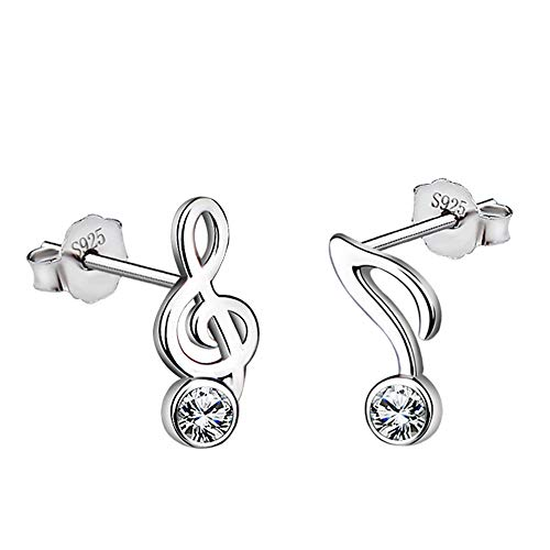 Meixao 925 Sterling Silver Music Note CZ Crystal Stud Earrings for Women Gift Boxed (White)