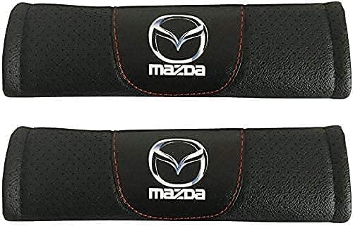 KYQYLL 2 Piezas con Auto Logo Almohadillas ProteccióN CinturóN Seguridad para Mazda, CinturóN de Seguridad Correa Hombreras Coche Interior DecoracióN Accesorios
