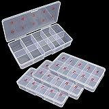 4 Pack Plastic Storage Boxes Empty False Nail Storage Boxes Nail Art Tips Storage Grid Boxes