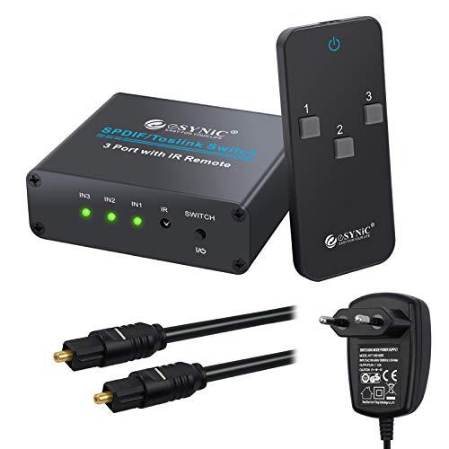ESYNiC 3X1 Switch Toslink SPDIF con IR Telecomando Switcher Commutatore Audio Digitale Ottico 3 Ingressi 1 Uscita con Alimentatore e Cavo Ottico - Supporta Dolby AC3 LPCM PCM 2.0 DTS 5.1