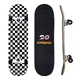 HXSD Deck Full Doble Doble Kick Skateboarding, con 7 Capas Grid En Blanco Y Negro Aprendiendo Skateboarding, Adecuado para Adolescentes Y Principiantes