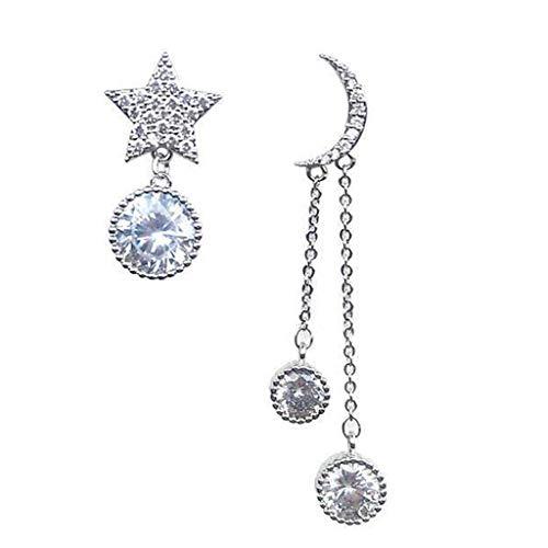 VIccoo Pendientes, Crystal Trendy Star Mujeres Pendientes Colgantes Pendientes asimétricos de Estrella-Luna Pendientes de Gota